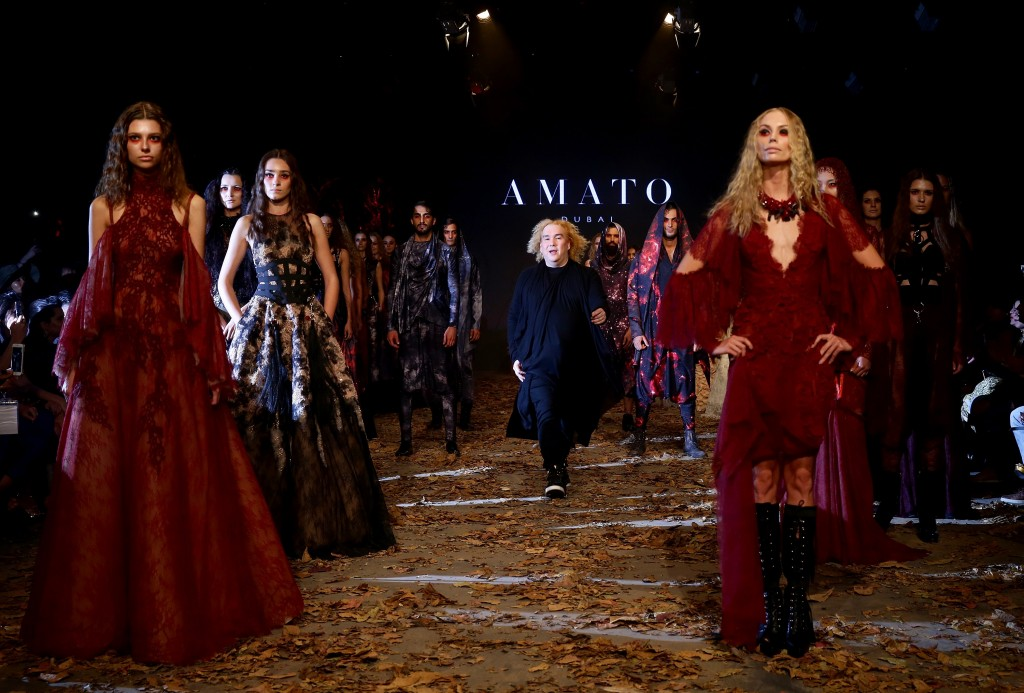 A model walks the runway during the Amato show at Fashion Forward Fall/Winter 2016 held at the Dubai Design District on April 2, 2016 in Dubai, United Arab Emirates.